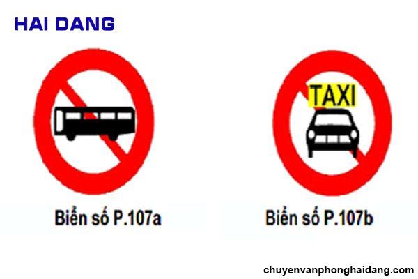 Biển cấm xe khách và xe taxi